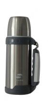 Термос Stinger, 1 л, широкий с ручкой, сталь, серебристый, серые вставки