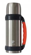 Термос Stinger,1 л, широкий с ручкой, сталь, серебристый, оранжевые вставки