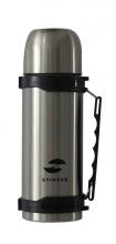 Термос Stinger, 1 л, широкий с ручкой, сталь, серебристый, чёрные вставки