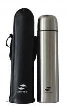 Термос Stinger с чехлом, 0,5 л, узкий, сталь, искусственная кожа, серебристый, чехол-чёрный