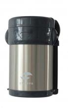 Термос суповой, Stinger, 2 л, широкий, сталь, серебристый, чёрные вставки, три контейнера