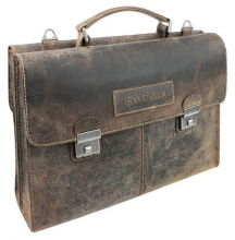 "Портфель двусторонний WENGER ""ARIZONA"", коричневый, кожа, 40x11x31 см"