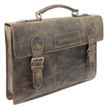 """Портфель WENGER """"ARIZONA"""", коричневый, кожа, 39x5x30 см"""