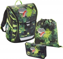 Ранец Hama Step by step BaggyMax Fabby Green Dino 3 предмета 138630