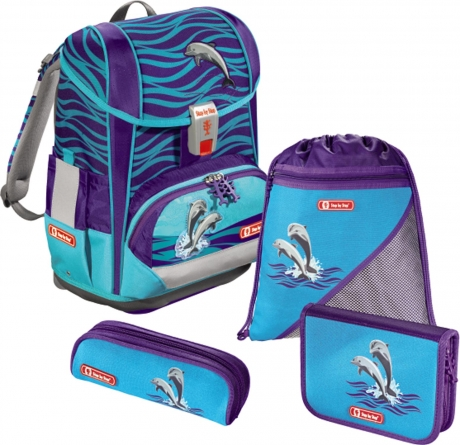 Ранец ортопедический Hama Step By Step Light 2 Happy Dolphins голубой 4 предмета 138502