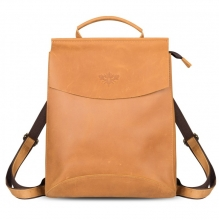 """Рюкзак кожаный GINGER BIRD Мокко 10"""" коричневый (подкладка рыжие лисы)"""
