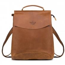 """Рюкзак кожаный GINGER BIRD Мокко 10"""" коричневый (подкладка магнолия)"""