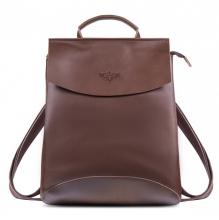 """Рюкзак кожаный GINGER BIRD Мокко 10"""" тёмный шоколад (подкладка летние лисы)"""