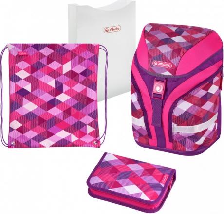 Ранец  Herlitz MOTION PLUS - Pink Cubes, с наполнением 50020362