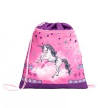 Мешок-рюкзак для обуви PINKY UNICORN 336-91/872 с вентилируемой сеткой и объемным карманом на молнии.