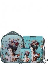Школьный ранец Noble People с наполнением 3 предмета  Девочка с бабочками NN3WT22SET.