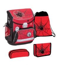 Ранец Belmil Mini-fit 405-33/9-37 SET SPIDER RED AND BLACK с наполнением 4 предмета.